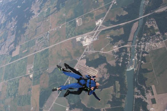 me, jumping out of a perfectly good airplane, in search of deep perspective....